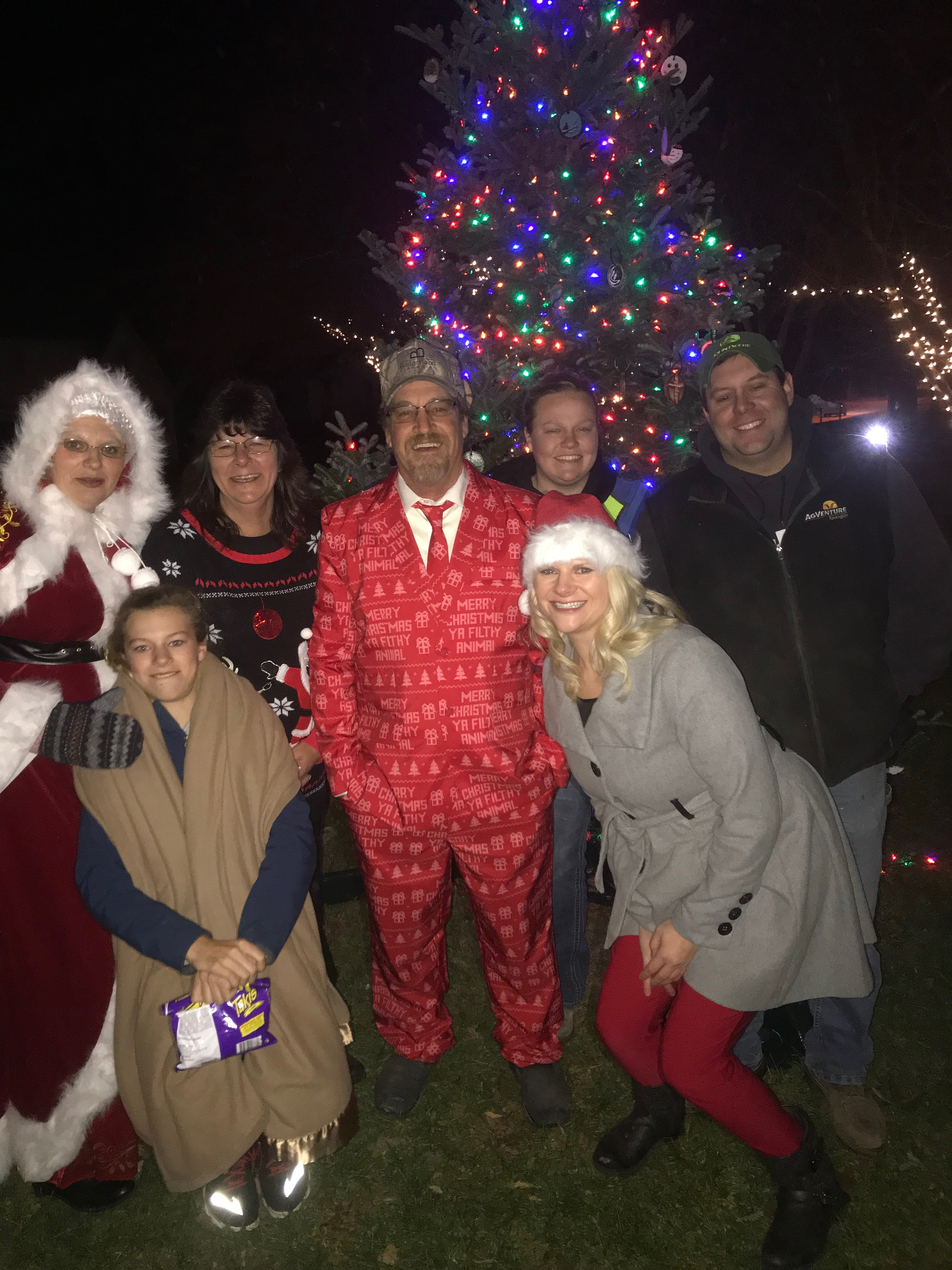 small town christmas tree lighting event in wisconsin